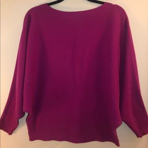 Lauren Ribbed Dolman Sleeve Sweater in Fuchsia M
